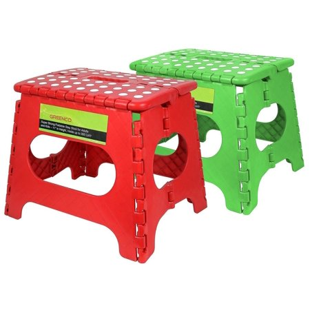 Greenco Set of 2 - Super Strong Foldable Step Stool - 11 Inches in Height (Red/Green)