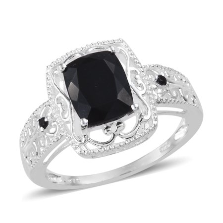 Black Tourmaline Spinel Sterling Silver Solitaire Bridal Engagement (Created White Opal Solitaire)