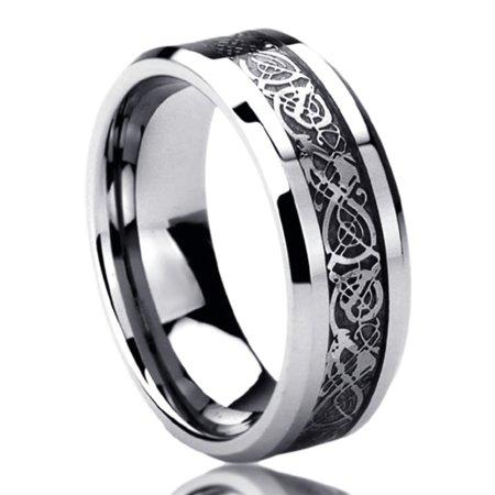 Ladies Celtic Band (Men Women 8MM Titanium Comfort Fit Wedding Band Ring Celtic Dragon Inlayed Ring (6 to 14))