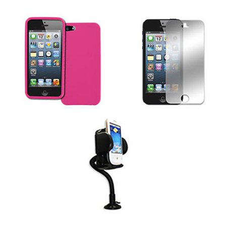 EMPIRE Apple iPhone SE / 5S / 5 Hot Pink Case Textured Poly Skin + Adjustable Car Dashboard Mount + Mirror Screen Protector
