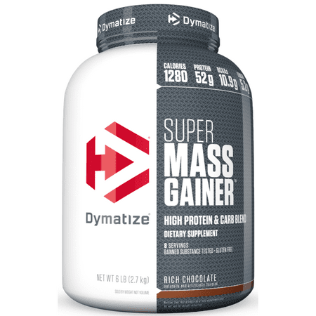 Dymatize Super Mass Gainer, High Protein & Carb Blend, Rich Chocolate, 52g Protein/Serving, 6