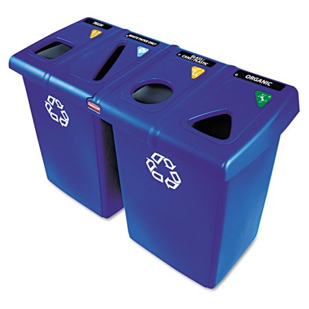 Rubbermaid Commercial Glutton Recycling Station, Four-Stream, 92 gal, - Rubbermaid Glutton Recycling Station