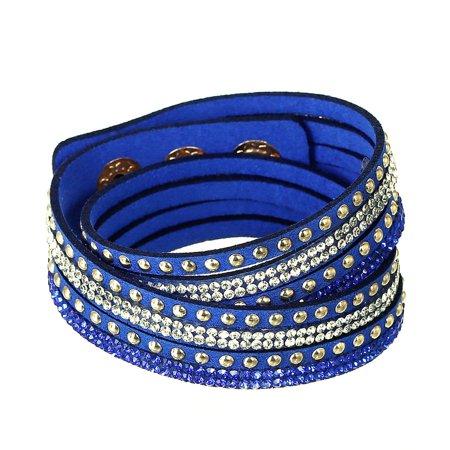 Sexy Sparkles Suede Velvet Multi Layer Wrap Women Teen Girls Bracelet with Rhinestones Light Golden Royal Blue Slake Button Clamp Adjustable