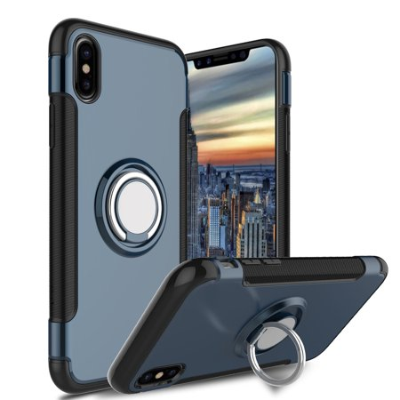 info for 0fe56 6cc99 Elegant Choise iPhone X Rotating Ring Case, Armor Dual Layer Shockproof  Protection Case with 360 Degree Rotating Kickstand and Magnet Car Holder  Case ...