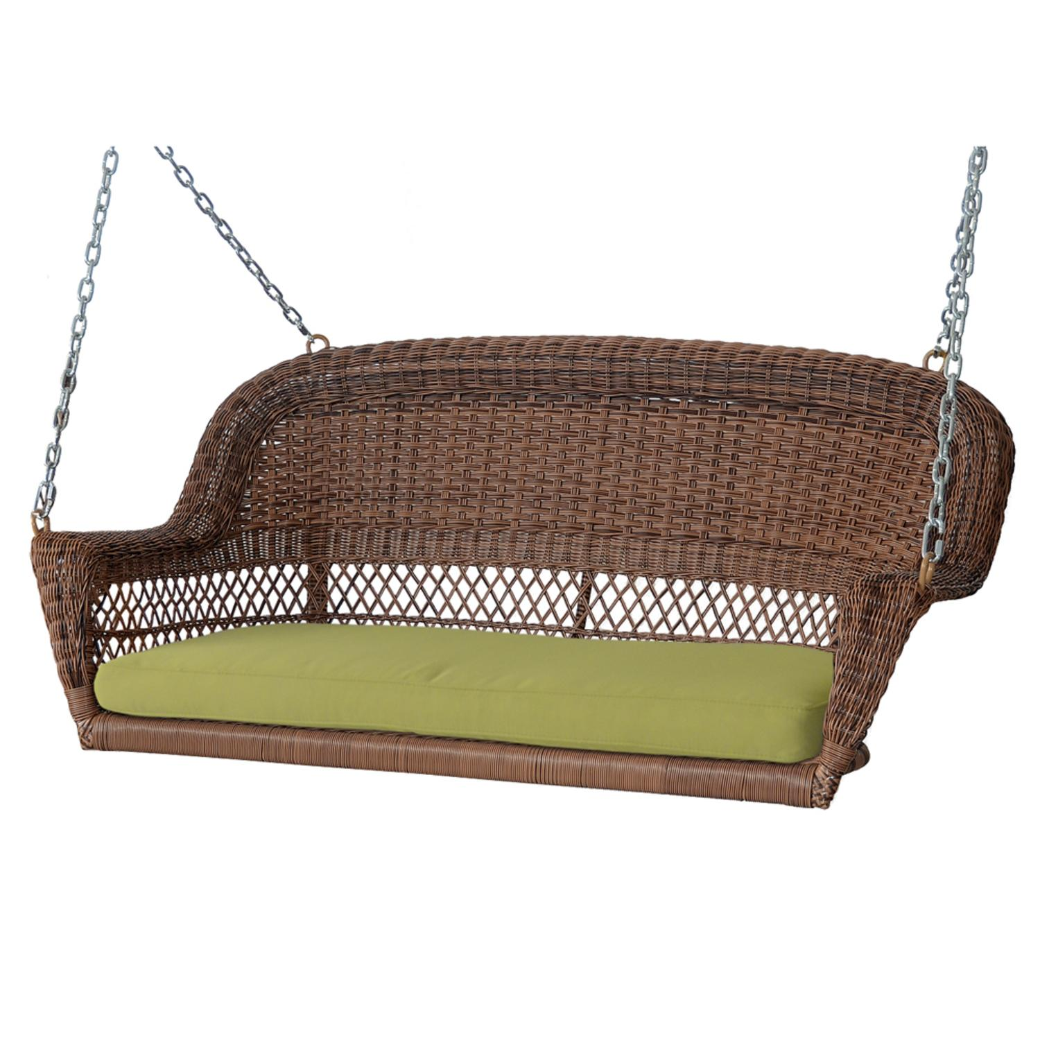"51.5"" Hand Woven Honey Brown Resin Wicker Outdoor Porch Swing with Green Cushion by Porch Swings"