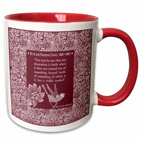 3dRose Pretty Chintz Pattern with William Morris Quote - Two Tone Red Mug, 11-ounce