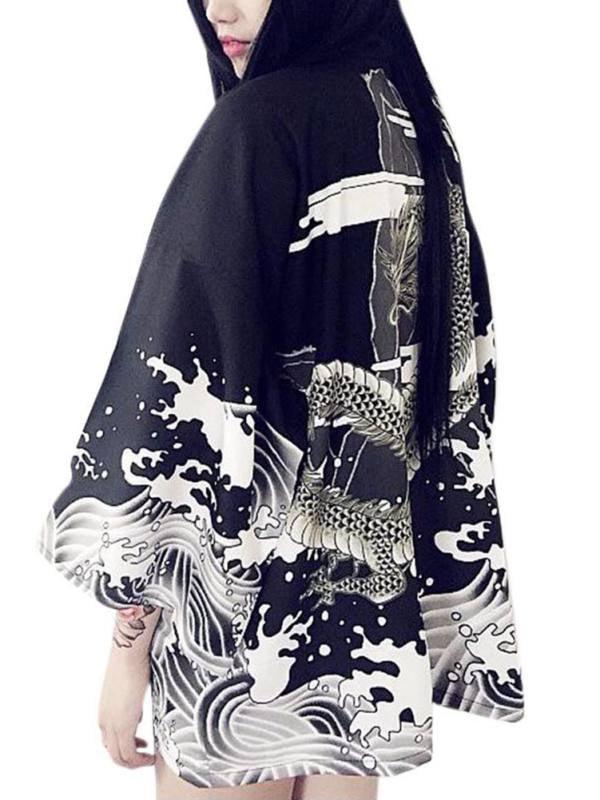Lavaport Fashion Women Vintage Waves Printed Blouse Chiffon Sun Protection Cardigan Kimono