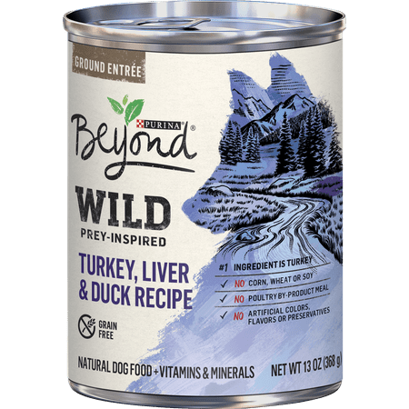 (12 Pack) Purina Beyond High Protein, Grain Free, Natural Pate Wet Dog Food, WILD Turkey, Liver & Duck Recipe, 13 oz. Cans