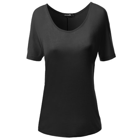 FashionOutfit Women's Solid Boatneck Dolman T-shirt Tops
