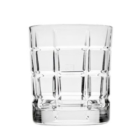 Plaid Leaded Crystal Barware Double Old Fashioned Whiskey Glasses, Set of 4