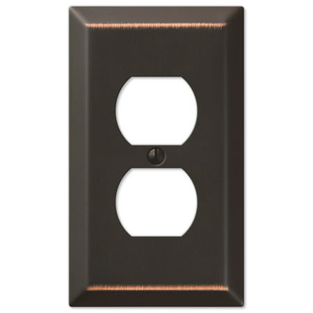 Outlet Wall Flange - Amerelle 163DDB Traditional Steel Wallplate with 1 Duplex Outlet, Aged Bronze
