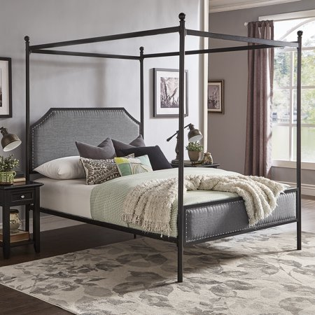 Weston Home Hazleton Black Metal Queen Canopy Bed With Grey Upholstered Headboard and Footboard