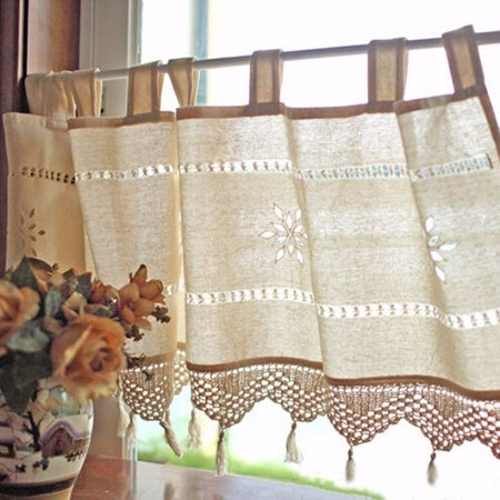 Cafe Window Curtains (Meigar Handmade Hollow Flower Cafe Curtain Linen and Cotton Crochet Lace Window Patchwork Valance 17 by 59-Inch, Cream / Light Beige )