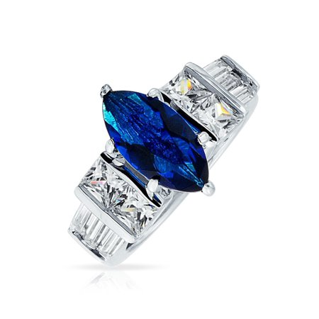 Marquise Cut Royal Blue Simulated Sapphire Cubic Zirconia CZ Cocktail Ring Rhodium Sterling Silver