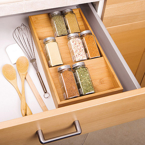 Seville Classics 3-Tier Bamboo Spice Rack Cabinet Drawer Tray Organizer by Seville Classics
