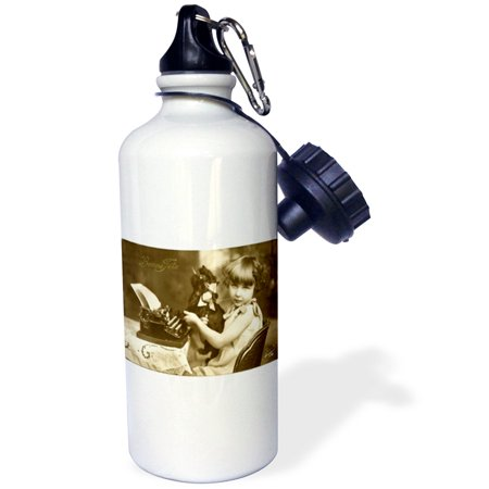 3dRose Print of photo Of Girl On Old Typewriter With Pet, Sports Water Bottle, 21oz