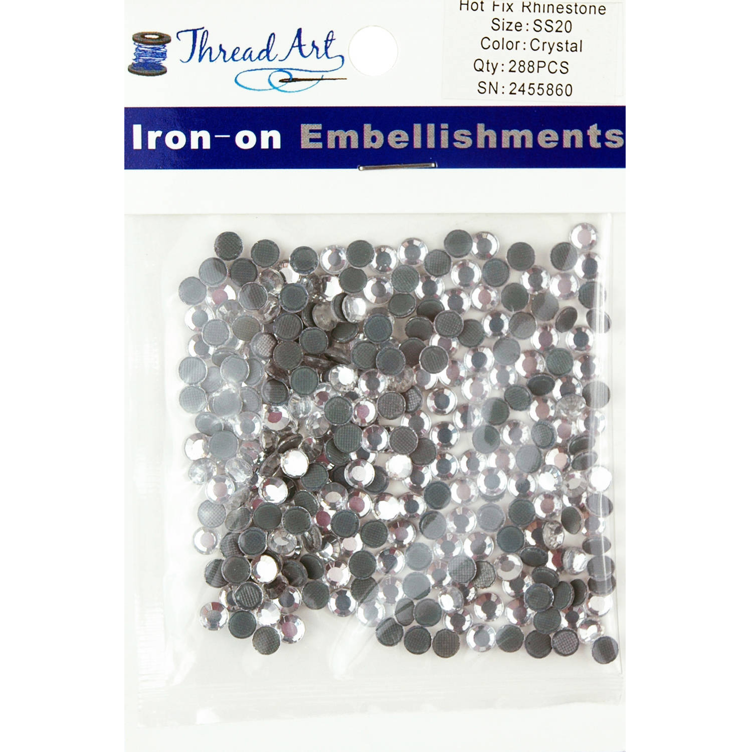 Threadart Hot Fix Rhinestones SS20 (5mm) 2 Gross (288 stones/Package) Hotfix, 29 Colors Available
