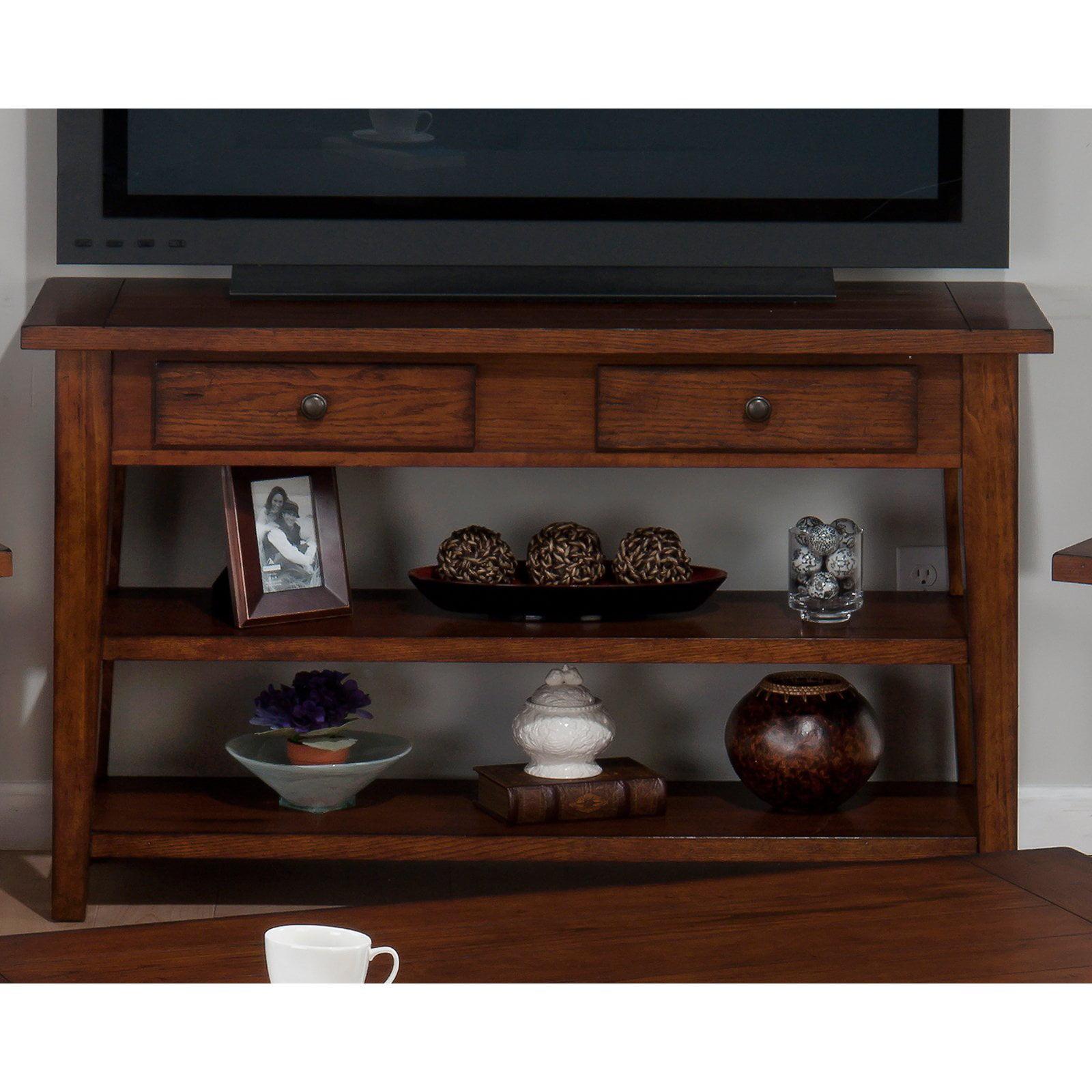 Jofran Clay County Sofa/Media Table - Medium Oak