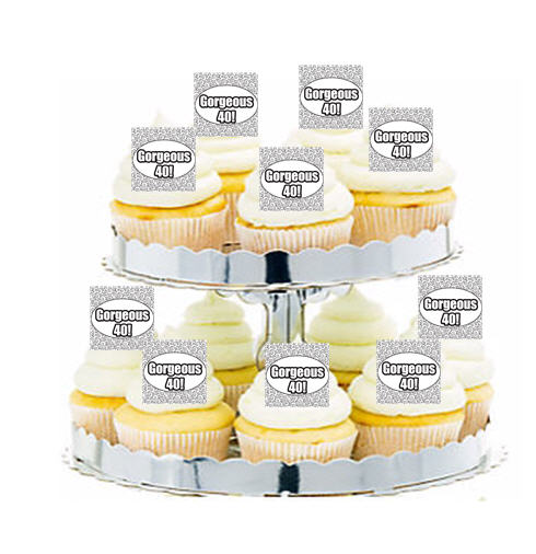 24pk Gorgeous 40th Birthday Edible Cupcake Decoration Toppers
