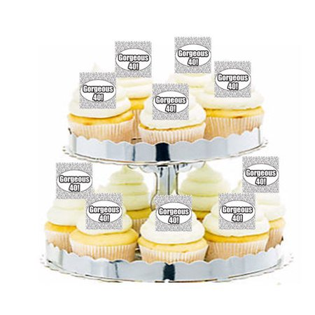 24pk Gorgeous 40th Birthday Edible Cupcake  Decoration Toppers / Picks