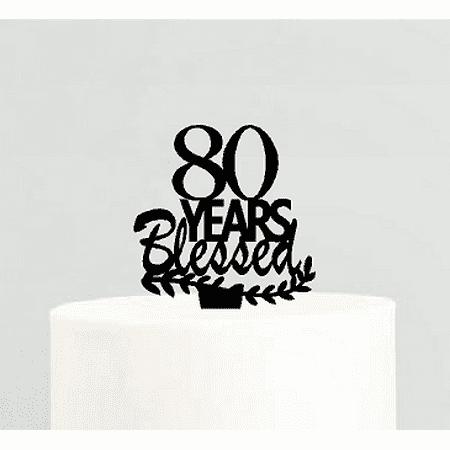 80th Birthday / Anniversary Blessed Years Cake Decoration