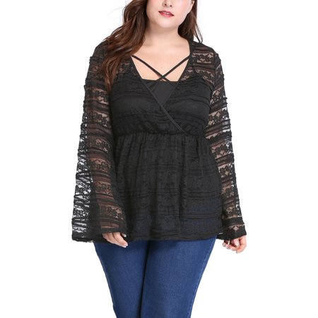 Unique Bargains Women's Plus Size Sheer Lace Bell Sleeves Babydoll Top w Camisole Sets