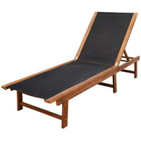 WALFRONT Sun Lounger Solid Acacia Wood and Textilene