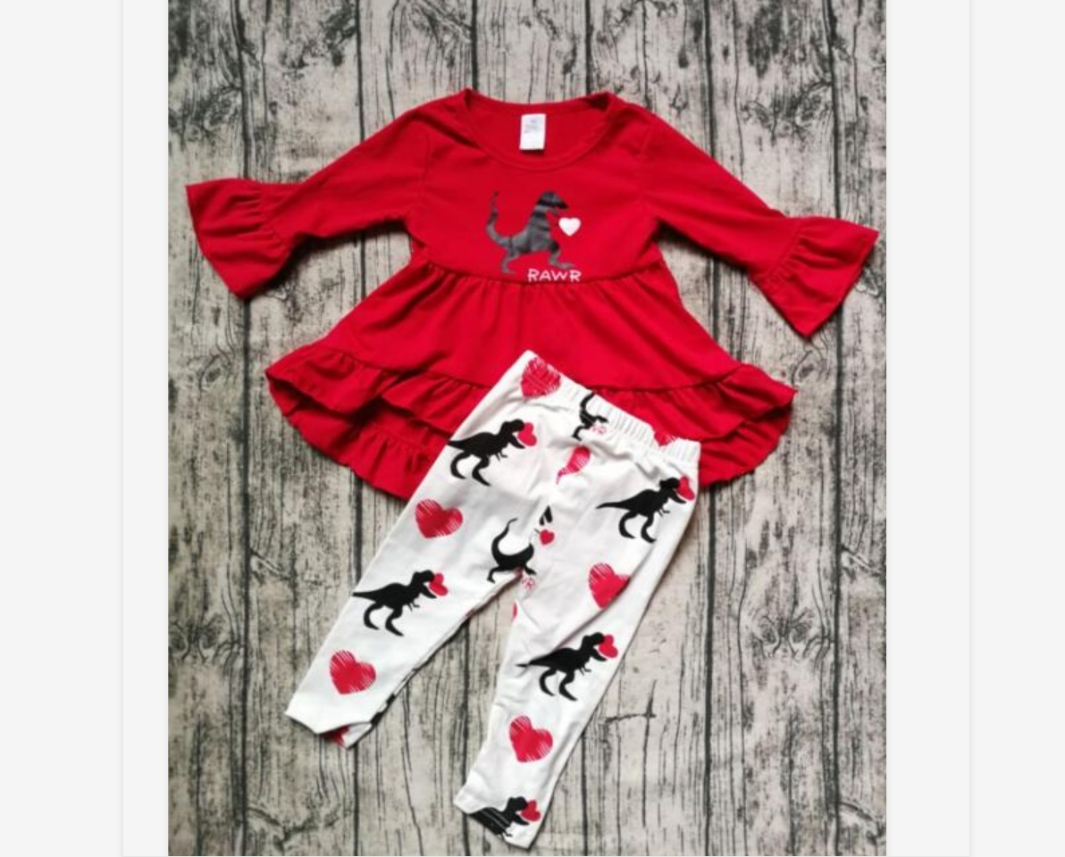 US Valentine/'s Day Infant Baby Girl Kid Long Sleeves Flower Pants Outfit Clothes