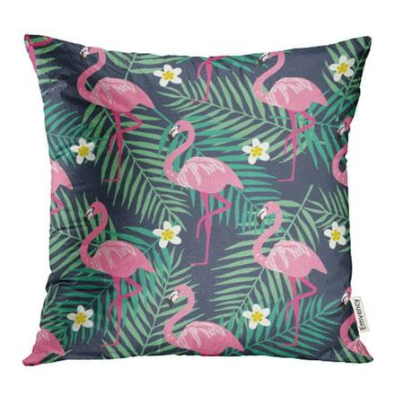 Khaki Leaf - YWOTA Colorful Summer Pattern Flamingo Tropical Bird and Leaf Flower Khaki Hawai Beach Pillow Cases Cushion Cover 16x16 inch