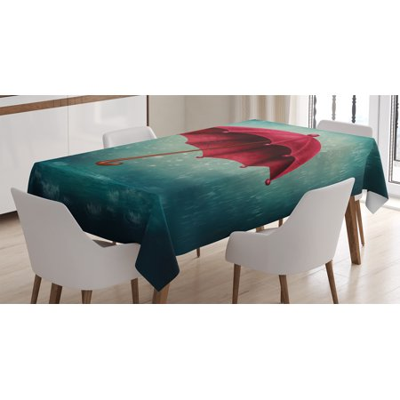 Farmhouse Decor Tablecloth, Authentic Retro Wooden Handle under Fall Rainfall Torrent Urban Accessory Image, Rectangular Table Cover for Dining Room Kitchen, 60 X 90 Inches, Teal, by Ambesonne