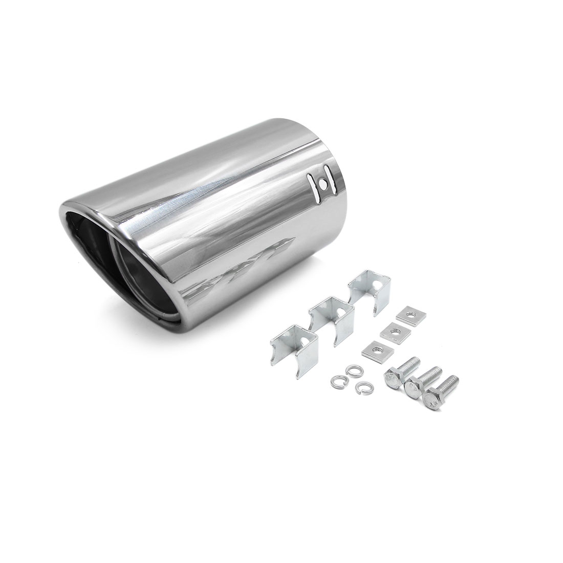 Silver Tone 58mm Inlet Dia Stainless Steel Exhaust Pipe Muffler Tip for Car
