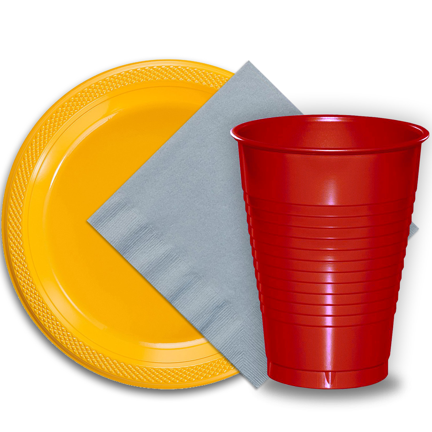 "50 Yellow Plastic Plates (9""), 50 Red Plastic Cups (12 oz.), and 50 Silver Paper Napkins, Dazzelling Colored Disposable Party Supplies Tableware Set for Fifty Guests."