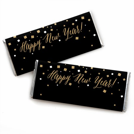 Black And Gold New Years Eve Decorations (New Year's Eve - Gold - Candy Bar Wrappers Party Favors - Set of)