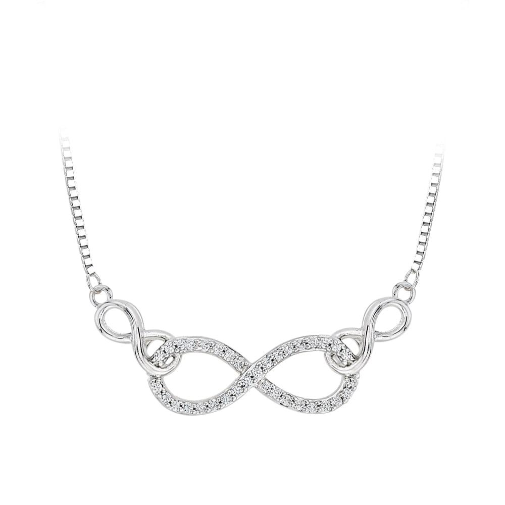 SHAH DIAMONDS INC Sterling Silver 1/8ct TDW Diamond Infinity Necklace (J-K, I1-I2)