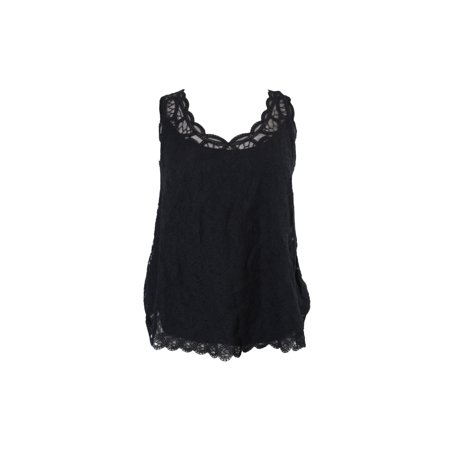 Inc International Concepts Black Embroidered Lace Shell M