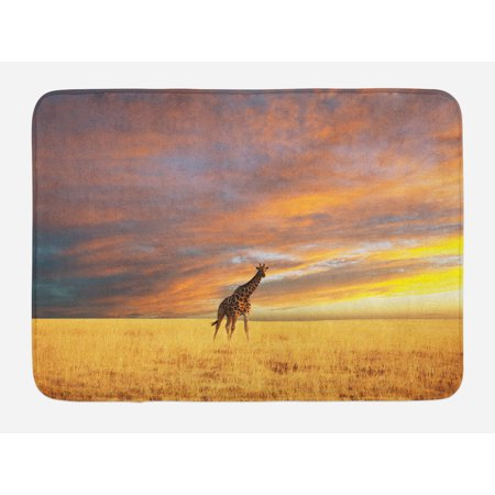 Giraffe Bath Mat, Animal in Savannah under Clouds at Sunset African Wildlife Themed Safari, Non-Slip Plush Mat Bathroom Kitchen Laundry Room Decor, 29.5 X 17.5 Inches, Yellow Blue Mauve, Ambesonne - Safari Theme Decor