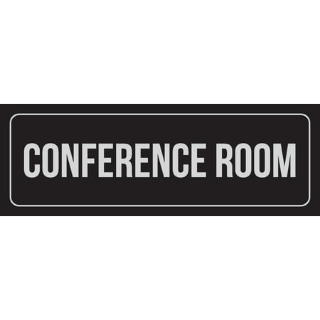 Conference Room Sign (Black Background With Silver Font Conference Room Office Business Retail Outdoor & Indoor Plastic Wall Sign, 3x9 Inch)