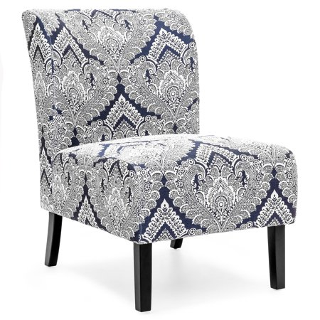 Best Choice Products Modern Contemporary Upholstered Armless Accent Chair (Blue/White) Accents Express Upholstered Chair