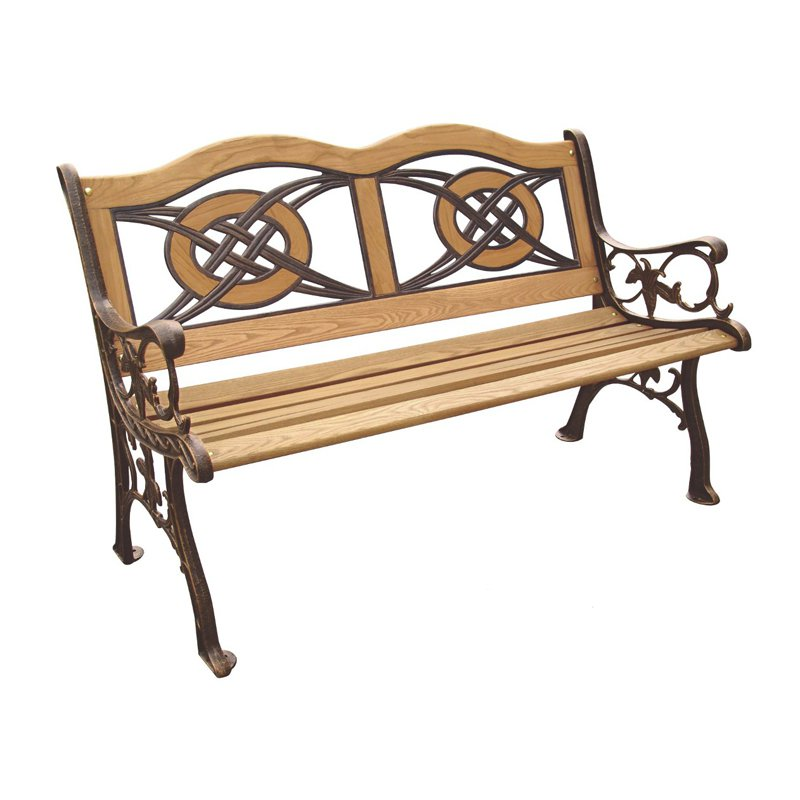 Kokomo Wood Inlay Garden Bench