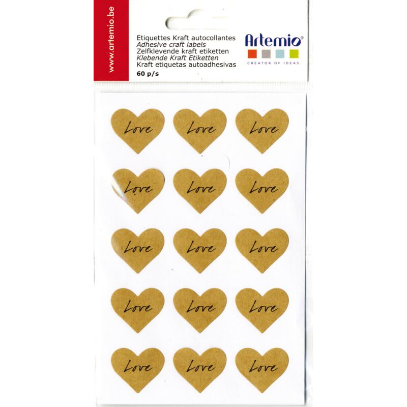 Artemio Kraft Labels 60/pkg-love, 1""