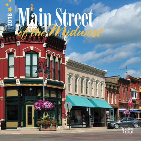 Wall Street Padfolio ((2 Pack) Main Street of the Midwest 2018 7 x 7 Inch Monthly Mini Wall Calendar, USA United States of America Town Americana )