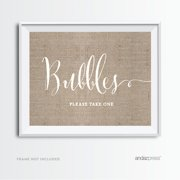Bubbles - Please Take One Burlap Wedding Party Signs