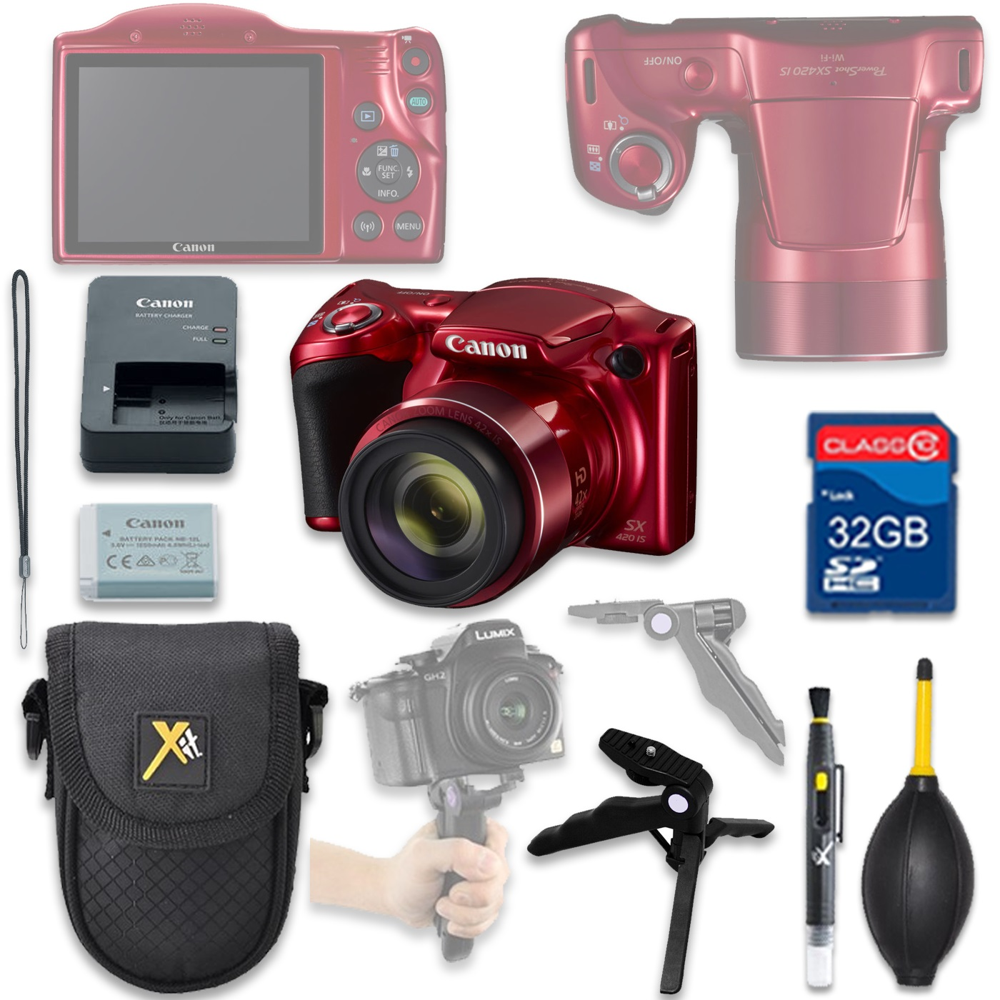 Canon PowerShot SX420 HS Digital Camera(red) with 32GB SD Memory Card + Accessory Bundle