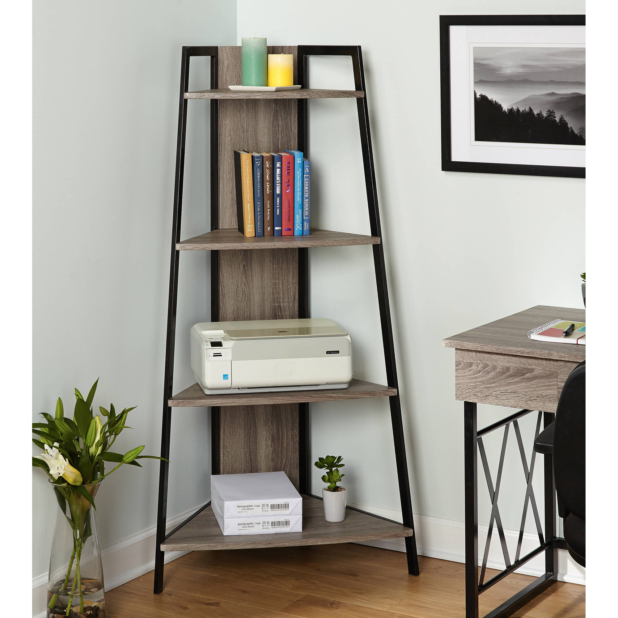 Leny XX Corner Shelf, Black/Grey