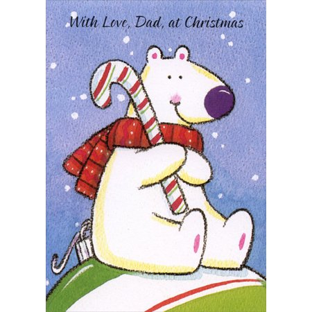 Freedom Greetings Bear with Candy Cane: Father Christmas Card ()