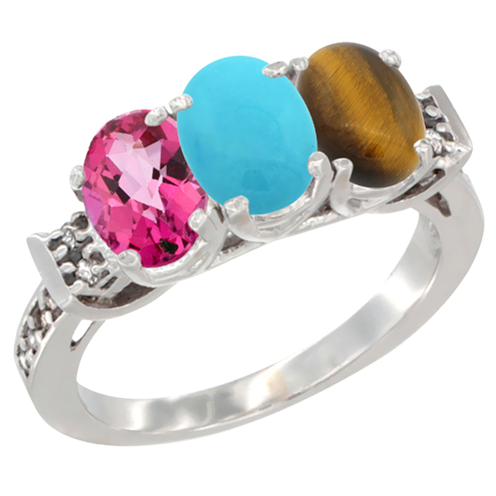 14K White Gold Natural Pink Topaz, Turquoise & Tiger Eye Ring 3-Stone Oval 7x5 mm Diamond Accent, sizes 5 10 by WorldJewels