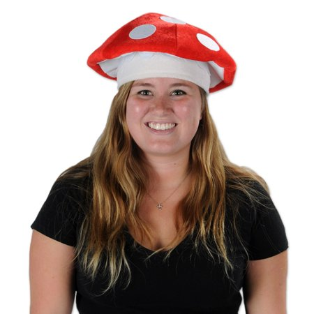 Club Pack of 12 Retro 80's Night Red and White Plush Mushroom Party Hats](Retro 12 Red And White)