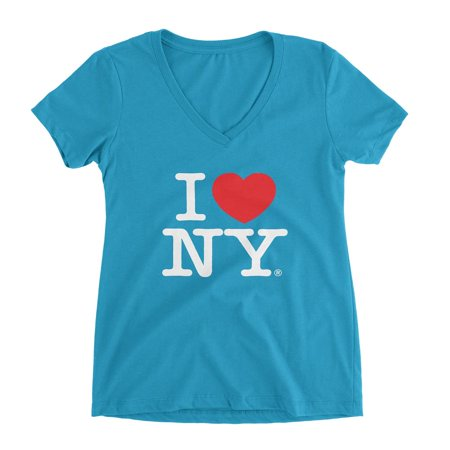Small I Love Ny Ladies Turquoise V-Neck Tee Womens - I Love Ny Pajamas