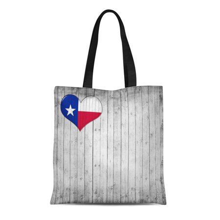 ASHLEIGH Canvas Tote Bag Blue Houston Texas Flag Heart and Wood Red Abstract Durable Reusable Shopping Shoulder Grocery