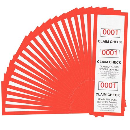 Juvale 1000 Pack 3 Part Coat Room Check Claim Tags with Serial Numbers 1-1000, 4.75 x 1.5